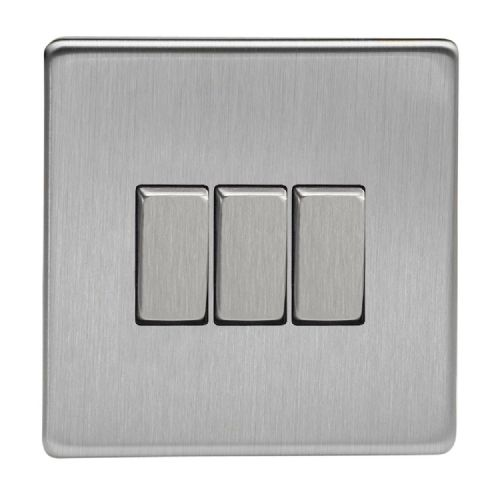 Varilight XDS3S Screwless Brushed Steel 3 Gang 10A 1 or 2 Way Rocker Light Switch